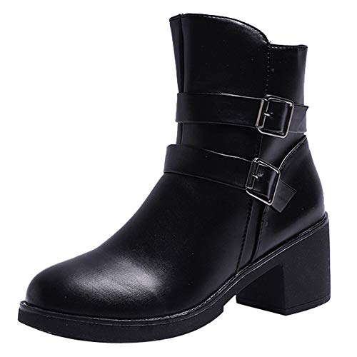 Innerternet Women Wedges Buckle Strap Leather Middle Boots Martin Clearance Boots Shoes Ankle Boot