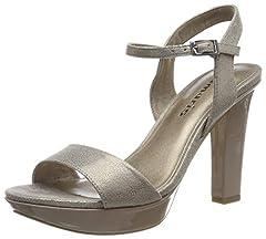 Idea Regalo - Tamaris 1-1-28398-22, Sandali con Cinturino alla Caviglia Donna, Oro (Platinum Comb 937), 38 EU