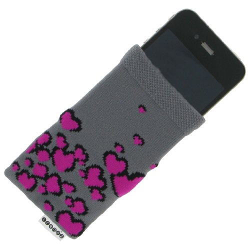 Trendz TZSKBUBK Universal Socke für Apple iPhone/iPod und MP3 schwarz mit rosa Herz Knopf Grau mit Pink-Herzen