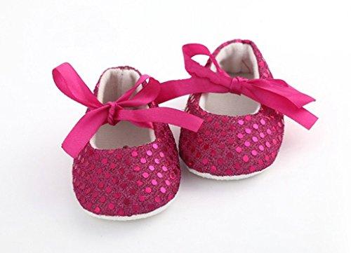 AkinosKIDS Newborn Fuschia Pink Soft Soled Sparkly Sequins non slip BabyGirl booties Slippers Crib Shoes(6-9 MONTHS)