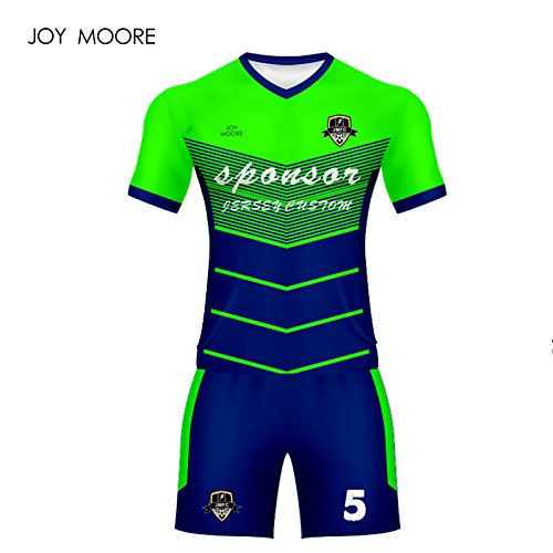 2018 World Cup10457 World Cupneun Ankunft Blau und Grün Fußball Jersey Custom Professional Design Fußball Shirt Männer, Mini Order 5 Pcs, 3XL (Custom-design-fußball-trikots)