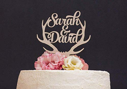 Personalisierte Hochzeitstorte Dekoration Hirsch Geweih Rack Hochzeit Geschenk Ideen Jahrestag Party Dekoration