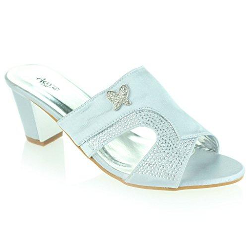 Femmes Dames Broche Détail Diamante Enfiler Talon De Bloc Soir Casual Mariage Fête Prom Des Sandales Chaussures Taille Argent
