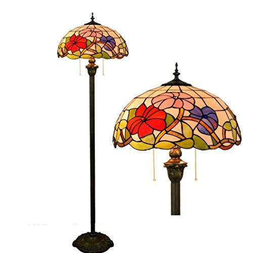 XYQS Tiffany Style Stehleuchte Glasmalerei Eisen Licht Pole Pull Schalter Handgefertigte Lampenschirm Stehleuchte 64 Zoll hoch für Schlafzimmer Wohnzimmer Leselampe (watt : 110V) (Pole-licht-schalter)