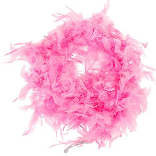 CDKJ La Pluma de Turquía Boa- Segunda Largo para Disfraces de Halloween, niños, Regalos, Accesorios y Partes favorece Rosa