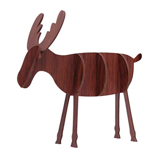 PRETYZOOM Holz Rentier Figur Hirsch Elch Dekofigur Tierfigur Weihnachtsfigur Weihnachtsdeko Xmas Party Deko DIY 3D Holzpuzzle (Kaffee, Größe)