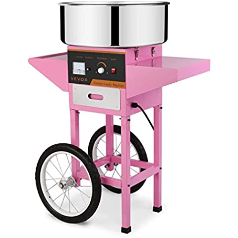 HPcutter Macchina per Zucchero Filato Cotton Candy Machine Electric Candy Floss Maker Cart Kit 1030W for Wedding Party (Macchina per Zucchero Filato con