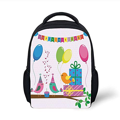 Kids School Backpack Birthday Decorations for Kids,Singing Birds Happy Birthday Song Flags Cone Hats Party Cake,Multicolor Plain Bookbag Travel Daypack