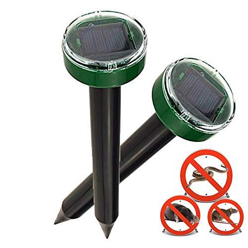 Nurkoo 2 Stück Solar Maulwurfabwehr IP65 Ultrasonic Solar Maulwurfschreck,Mole Repellent, Wühlmausschreck, Wühlmausvertreiber für Den Garten Rasen...