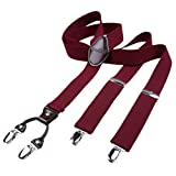 DonDon Herren Hosenträger 3,5 cm breit 4 Clips mit braunem Leder in Y-Form elastisch und längenverstellbar dunkelrot