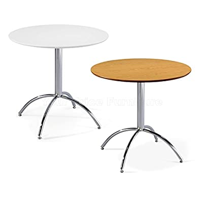 Kimberley Dining Table With Chrome Metal Legs - Kitchen Cafe Bistro Style Small Round Table Choice of White or Natural