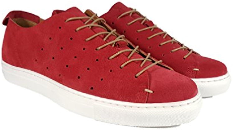 Helios Ray - Zapatillas de Cuero para Hombre Rojo Rojo -