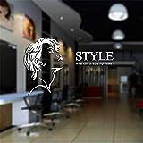 sticker mural Salon de coiffure autocollant Salon de beauté Sex Girl Decal Coupe de cheveux Affiche Mur Art Decal Décor Fenêtre Décoration Murale Pour Salon de Beauté
