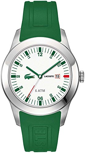Lacoste Men's 42mm Green Silicone Band Steel Case S. Sapphire Quartz White Dial Analog Watch 2010626