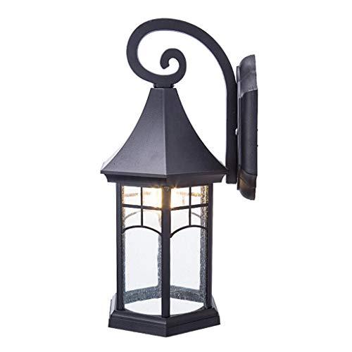 Applique extérieure rétro en aluminium de patio, lampe de mur noire d'abat-jour de LED de balcon, source lumineuse E27