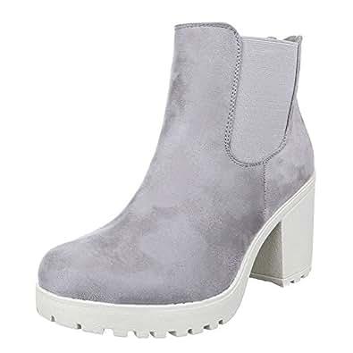 Damen Schuhe, S2161, STIEFELETTEN, STRETCH BOOTS, Synthetik in hochwertiger Wildlederoptik , Grau, Gr 36