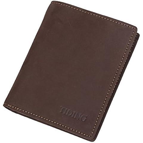 TIDING nabuk, da uomo, in pelle, a portafoglio verticale, con tasca frontale, a portafoglio con porta carte di credito