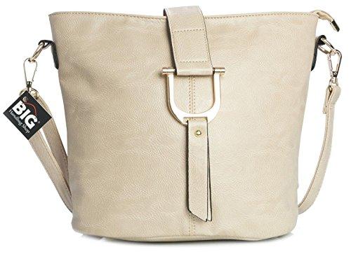 Big Handbag Shop - Borsa a tracolla donna (Beige (BH157)) Tienda Libre De Envío Para Compras Oficial De Liquidación Compras En Línea Barato En Línea 7TJxt
