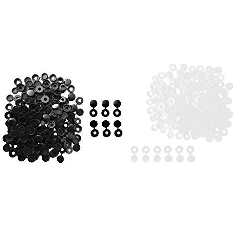 Homyl 200pcs Petit Couvercle à Vis de Charnière Convient Remplacement Meubles Décor Blanc + Noir
