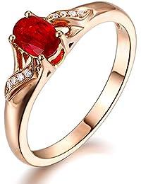 elegant Edelstein Rubin Diamant für Frauen Solide Rotgold 14K (585) Versprechen Verlobungsringe Hochzeit Ring Band