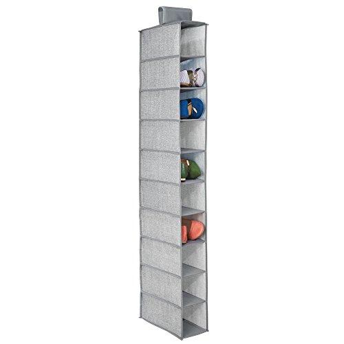 MetroDecor Armario de Tela Colgante mDesign. Armario Colgante Ideal Hecho de Tela con 10 estantes, un Espacio Guardar Ropa, Zapatos, Accesorios y más. Color Gris