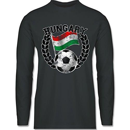 EM 2016 - Frankreich - Hungary Flagge & Fußball Vintage - Longsleeve / langärmeliges T-Shirt für Herren Anthrazit