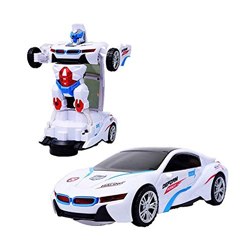 Toysale Robot Sports Car Toy with Convertible Robot with Lights, Music & Bump & Go Function for Kids, White (Image May Vary)