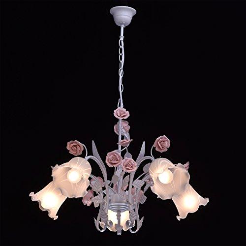 Deckenleuchte Metall weiß Farbe rosa Florentiner art deco Porzellan weiß - 4