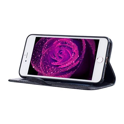 Etui iPhone 7 Plus Coque Cuir, Housse iPhone 7 Plus Folio Case, Moon mood® 3D Cas en PU Cuir pour Apple iPhone 7 Plus 4.7 pouces Telephone Portable Coque Housse Fermeture Magnétique Fente pour Carte S 2-Noir