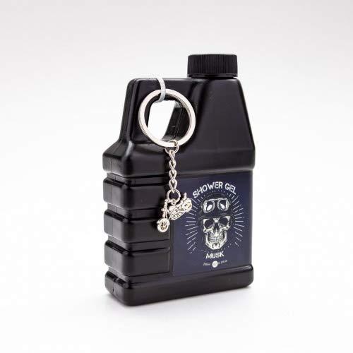 Accentra Duschgel für Männer im Motoröl-Kanister - Geschenkidee für Motorrad-Fahrer oder Hobby Schrauber - 200 ml Dusch-Seife mit Schlüsselanhänger Bike und Totenkopf Design - Duft: Musk