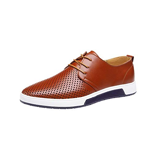 koperras Mens Hollow Leather Shoes, Men's Lightweighr Breathable Business Leisure Hollow Lace Up Shoes(US ()