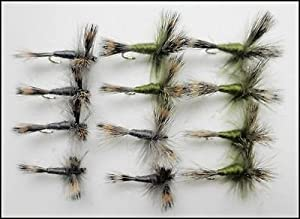 Wulff Fishing Flies, 12 Pack Grey & Olive Wulff Trout Flies, Size 10,Fly Fishing by Troutflies UK