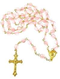 R Heaven - Ronda rosario cadena de oro longitud los 56cm de resina rosa