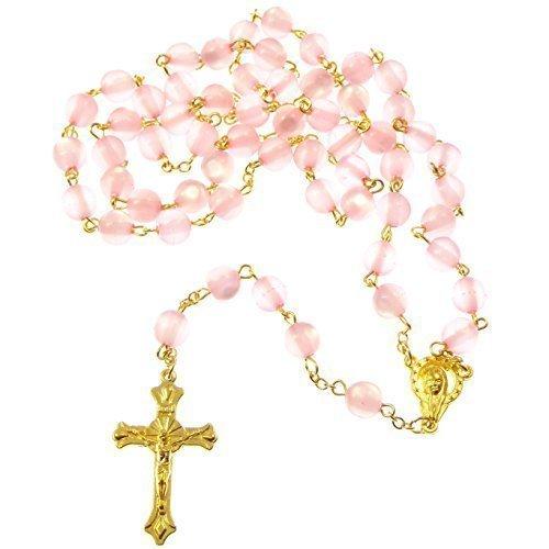 Perles chaîne rose résine ronde chapelet longueur 56cm d'or