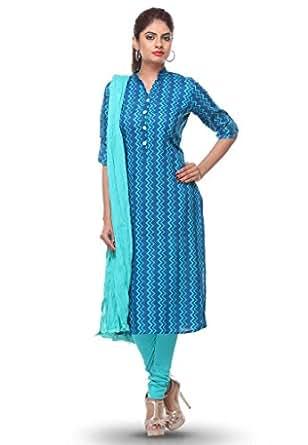 Blue Printed Cotton Kurti Legging Dupatta Suit