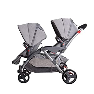 HZC Double Baby Stroller, Portable Folding Infant Pushchair with 5-Point Safety Harness, for Newborn and Toddler (Color : Gray)   8