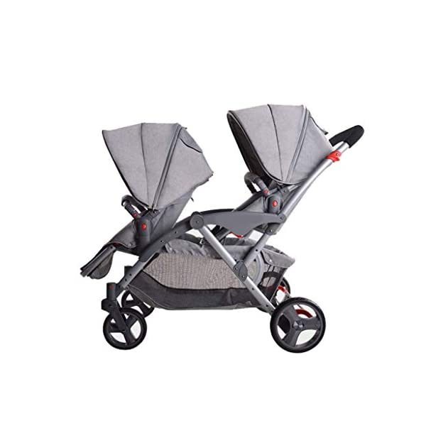 HZC Double Baby Stroller, Portable Folding Infant Pushchair with 5-Point Safety Harness, for Newborn and Toddler (Color : Gray) HZC Suitable for baby strollers from birth to 25 kg, made of high-quality aluminum alloy, each baby stroller is pressure tested to provide safety for every baby. Lightweight and compact Travel System ideal for everyday use or travel. One-hand fold mechanism lets you easily fold the pushchair. 1