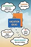 Vacation Ideas: Backpacking, Camping, Log Cabin, RV, Beach Resort (Blank journal, notebook, diary, 110 pages, college ruled, 6x9 inches)