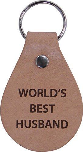 CustomGiftsNow Leder-Schlüsselanhänger mit Aufschrift World's Best Husband, tolles Geschenk für Vatertag, Valentinstag, Jahrestag, Geburtstag für Ehemann, Papa