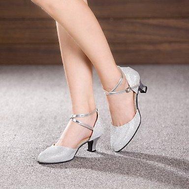 Silence @ Chaussures de danse pour femme en cuir/cuir verni Cuir/cuir verni latine/Jazz talons cubain Heelbeginner/ gris