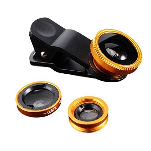 Leggero e Compatto 3in 1clip on Adattatore Fotocamera/Obiettivo Set per Smartphone-Obiettivo Fish Eye (180° Fisheye obiettivo grandangolare) + (0,65X Wide) + obiettivo macro (10X) (Gold)