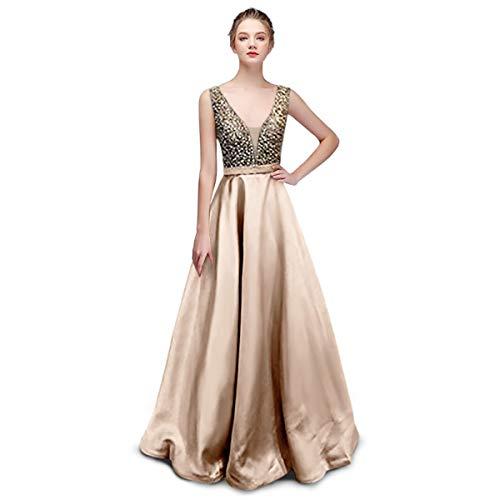Damen Abendkleider Cocktailkleider Satin V Ausschnitt A-Line glänzend Brautjungfer Kleider
