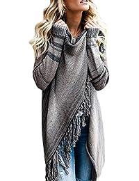 c22509eca16f Huixin Femmes Hiver Hem Tassel Cardigan Asymétrique Blouses Cape Top Mode  Vintage Young Styles Cardigan À