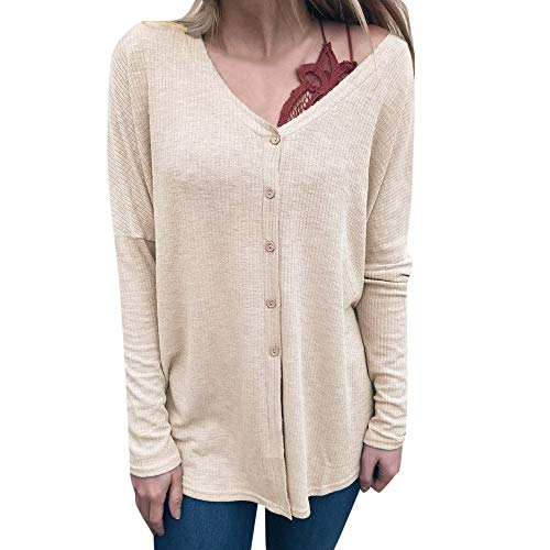 iHENGH Oversize Pullover Damen,Women Herbst Knopf Lange ÄRmel Pullover Pullover Bluse Kurze Hemden Sweatshirt Shirt Pullover Oversize Pullover Top Bluse(Beige,EU-42/CN-M) Mia Womens Sweatshirt