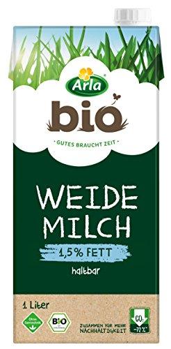 Preisvergleich Produktbild Arla BIO Haltbare Weidemilch 1.5% Fett,  Fettarme Bio H-Milch aus artgerechter Tierhaltung,  1 l
