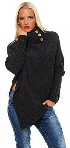 Mississhop Poncho Strick Sweatshirt Pullover Umhang Überwurf Einheitsgröße 36 38 40 S M L 11 Farben, Graphit, S/M/L 36/38/40 -