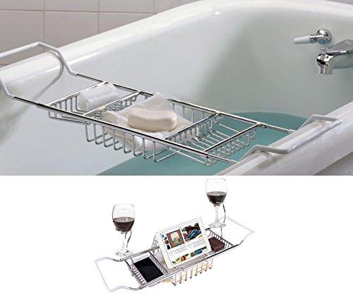 ipegtop Edelstahl-Dusch Organizer Badewanne Caddy Tablett mit erstreckenden Seiten und einstellbare Buchhalter Nicht-Rust