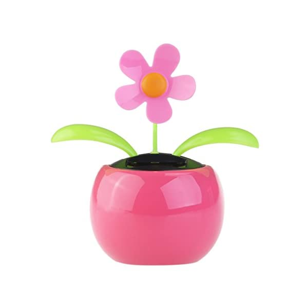 FENICAL Dacing Solar Flower Car Decor Solar Powered Happy Dancing Flower in the Pot Office Desk Display (Pink) 1