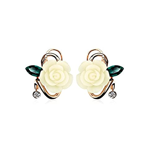 Lianjie Women's Rose Flower Crystal Stud Earrings with Cubic Zirconia Girls Jewelry (ivory)