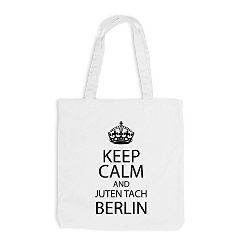 Sacchetto juta - Keep Calm And Juten Tach effusore - principale città Berlino Bianco